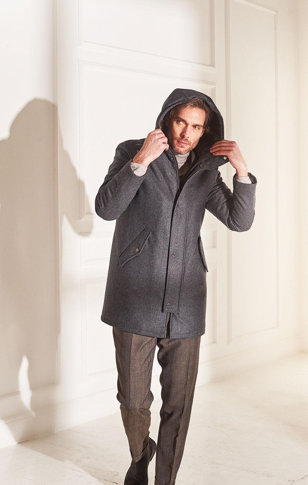 lenoci luxury - parka in flanella di pura lana Vitale Barberis imbottito con eco piuma è interno cappuccio in pelliccia di castorino e dettagli in pelle di cervo