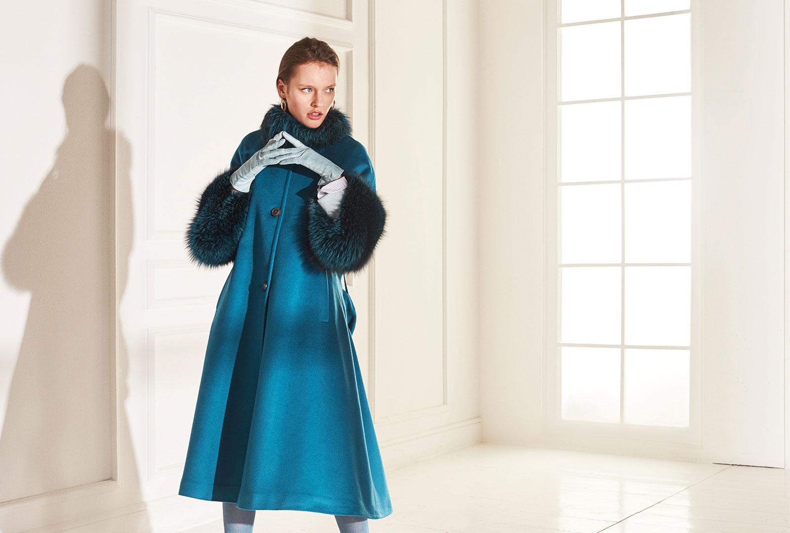 lenoci luxury - cappotto over linea svasata mantello collo e polsi in pelliccia di volpe Frost tinta