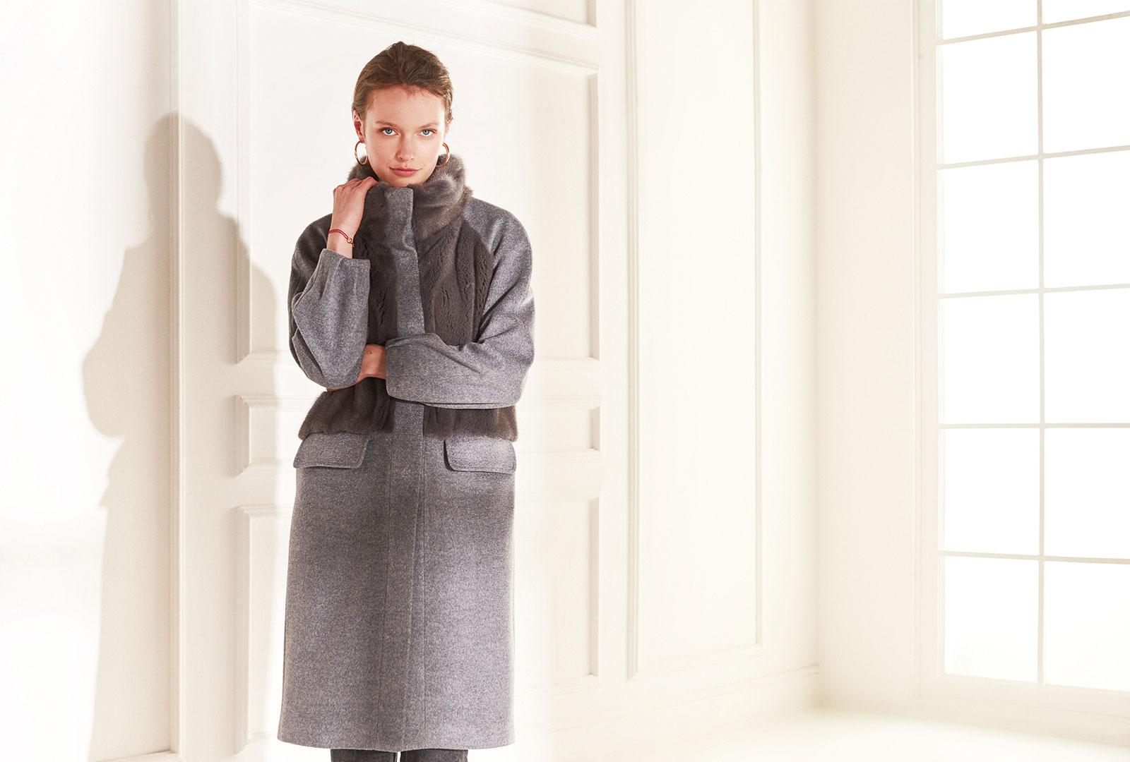 lenoci luxury - cappotto 100% pura lana colombo con davanti e collo in visone Iris blu