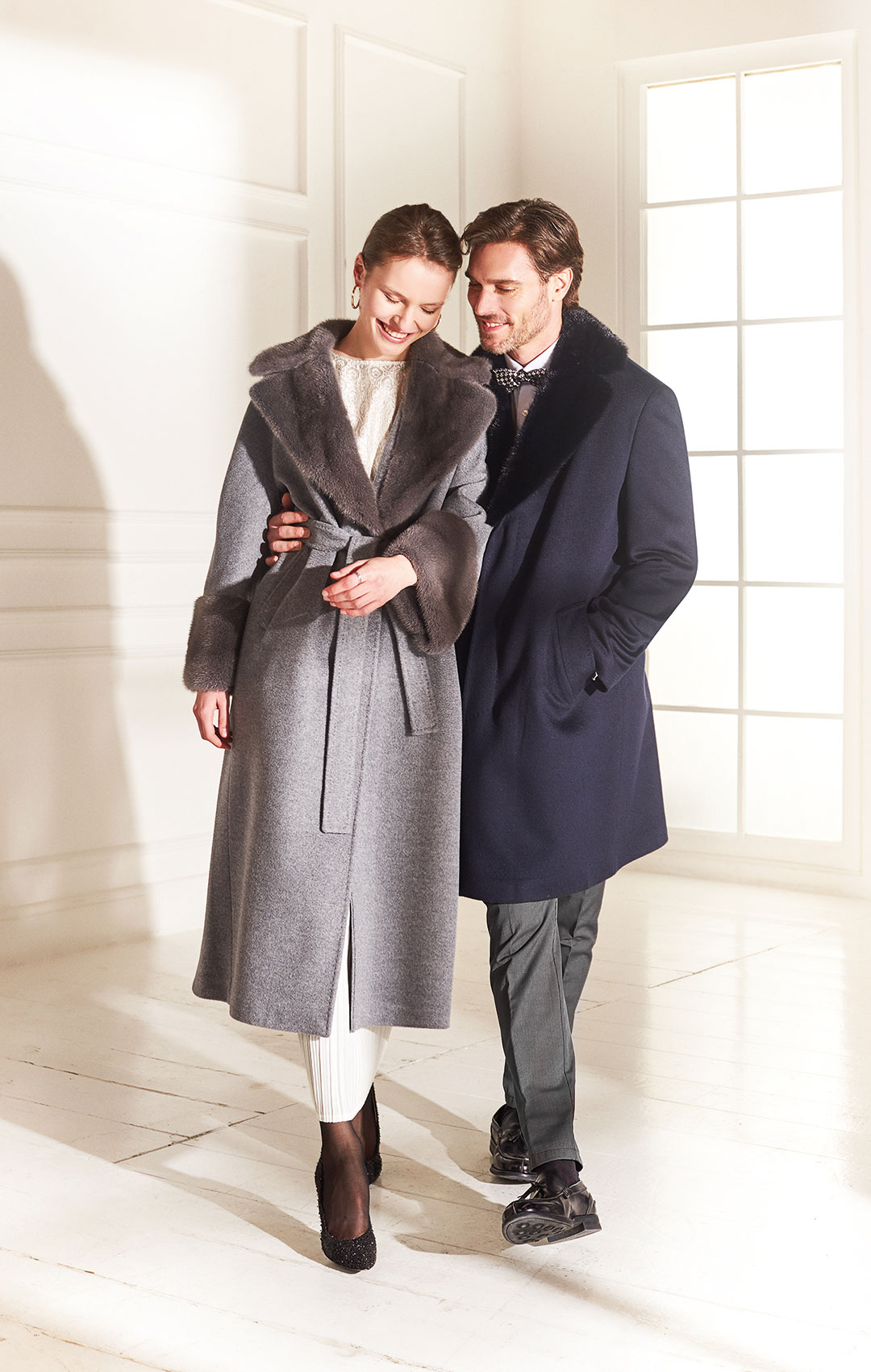 lenoci luxury - cappotto uomo tessuto 100% puro cashmere collo sciallato in visone - cappotto donna vestaglia in puro cashmere con collo e polsi in visone
