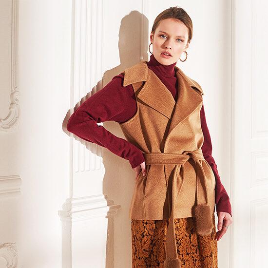 lenoci luxury - gilet in tessuto 100% pelo di cammello Colombo con finali cinta in visone e punto Sartoriale