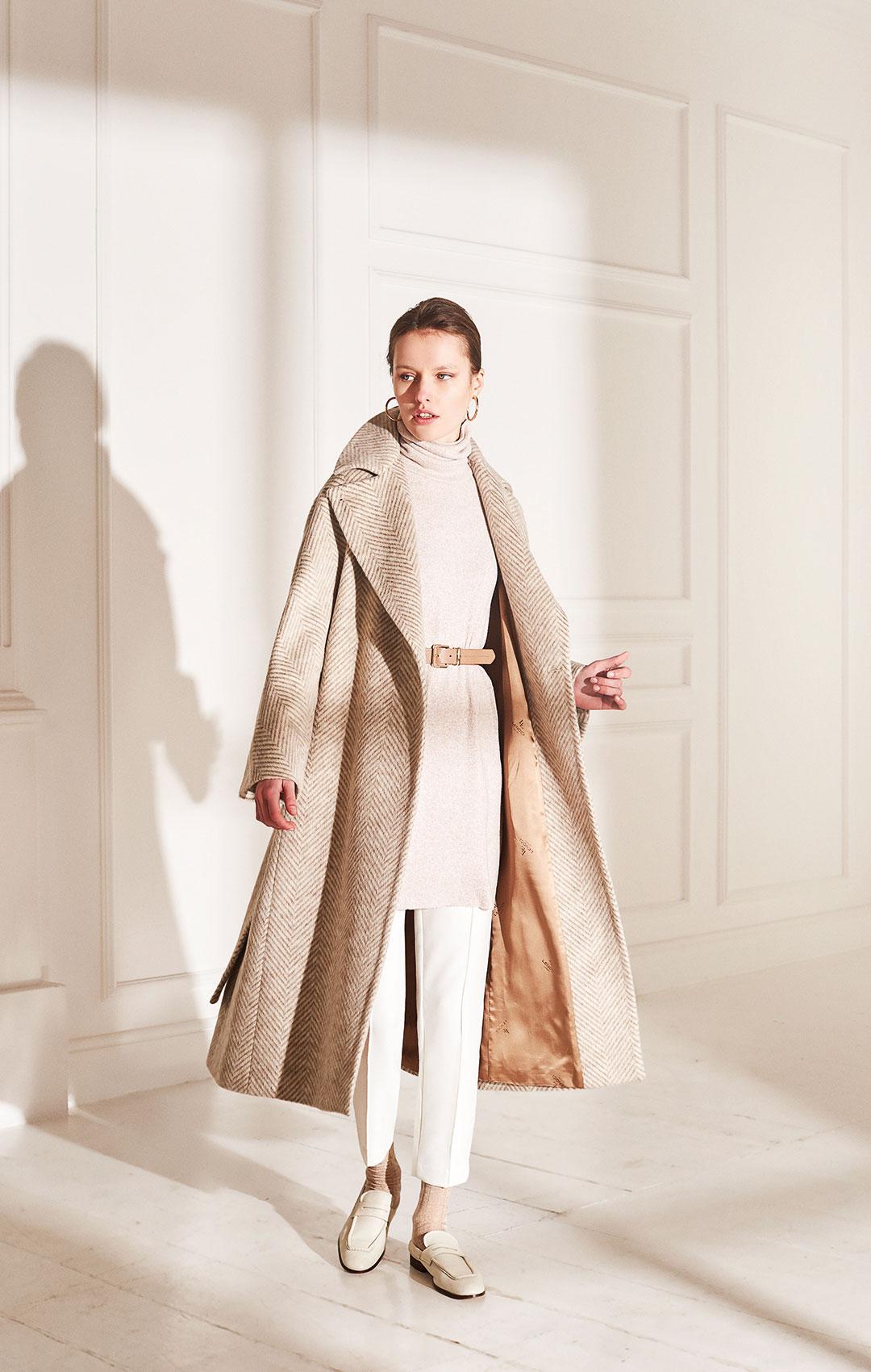 Lenoci Luxury - Cappotto vestaglia a Kimono in tessuto a resca, collo doppio uso, cintura, over coat