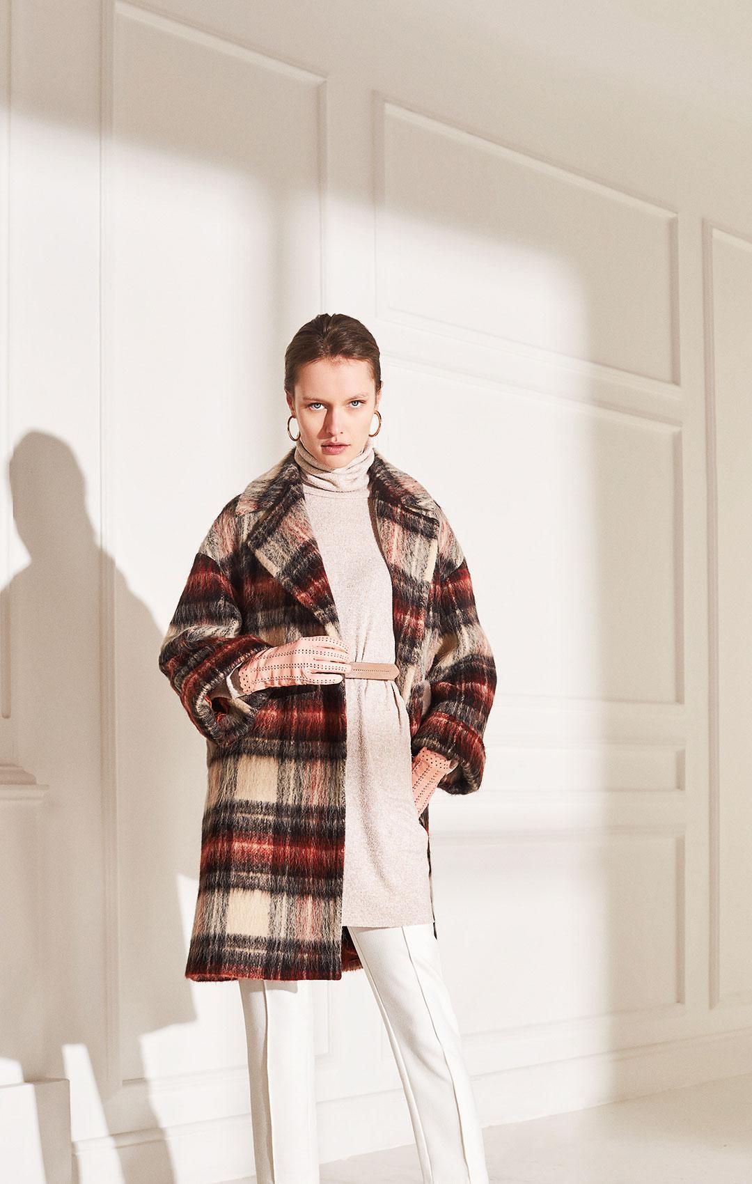 lenoci luxury - over Coat Cappotto a quadri alpaca mohair doppio petto