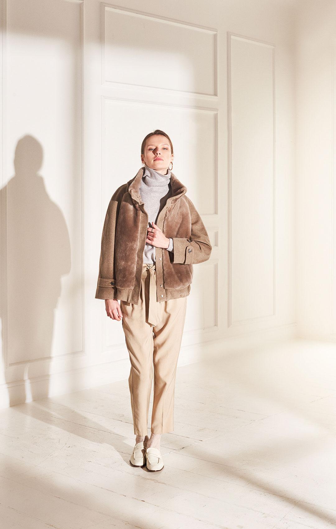 lenoci luxury - bomber in puro cashmere con trattamento beaver super soft e davanti e collo in montone